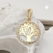 375 Gelbgold Goldanhänger Anhänger Lebensbaum Zirkonia 9Kt GOLD