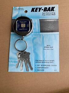 Vintage Key-Bak Metal Key Chain Reel - New Old Stock On Original Card