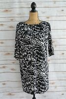 Ann Taylor BLACK Ivory abstract 3/4 sleeve STRETCH shift dress sz S