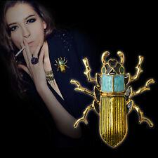 Nice Genuine Brooch Green Scarab Beetle Insect Brass Pin Wood Boring Bug Jewelry