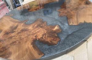 Bespoke Resin River Dining Table Top Black Resin. 120cm Round