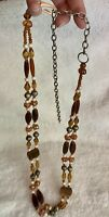 Vintage Amber Tone Beaded Belt With Silver Tone Adjustable Hook & Chain Buckle