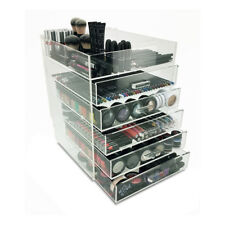 NEW! PARIS DELUXE MAKEUP ORGANIZER - ACRYLIC 6 TIER DRAWER COSMETIC DISPLAY CASE