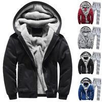 Winter Mens Hoodie Warm Fleece Zipper Sweater Jacket Outwear Coat Top Pants Set