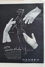 1954 women's gloves by HANSEN parfait wink towne styles spice Shades fashion ad