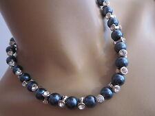 STRASS Collier Damen Hals Kette Modekette kurz Perlen Grau Silber Bling  K196