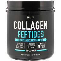 Sports Research Collagen Peptides Type I  III Unflavored 16 oz BPA-Free,