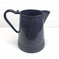 "Vintage Blue Speckled Graniteware Enamelware Coffee Pot 8"" - NO LID"