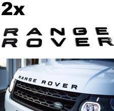 2 X Gloss Black Range Rover Sport Evoque Letters Lettering Badge Bonnet Boot