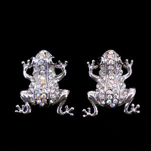 Super Lovely Frog Use Austria Crystal 18K White Gold-plated Studs Earrings