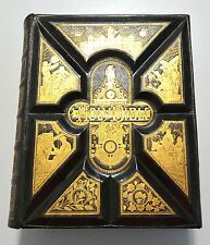 ANTIQUE FAMILY HOLY BIBLE Full Leather Binding Illustrated  Religion