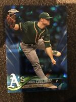 2018 Topps Chrome Sapphire Blue Refractor #16 Daniel Coulombe Oakland Athletics
