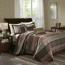 BEAUTIFUL XXL MODERN RED BROWN GREY TAUPE CABIN LODGE COZY QUILT BEDSPREAD SET