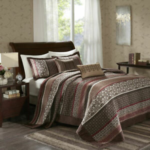 BEAUTIFUL XXXL LARGE RED BROWN GREY TAUPE CABIN LODGE FLOOR QUILT BEDSPREAD SET