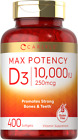 Vitamin D3 10000 IU 400 Softgels | Value Size | Max Potency | by Carlyle