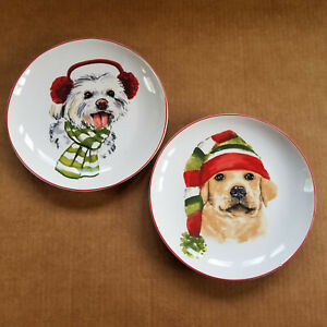Pier 1 Imports - Christmas Puppies - 8in Salad Plates - 2 Different Dogs