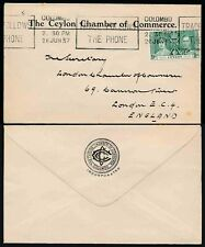 CEYLON 1937 CORONATION 9c CHAMBER of COMMERCE ENV + MACHINE TELEPHONE SLOGAN