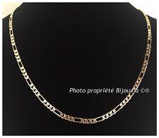 Chaîne Maille Figaro Diamantée 1-3 Plaqué Or 18 carats Garanti NEUF Bijoux