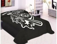 Sons Of Anarchy SOA Reaper Soft Plush Thick King Mink Blanket Black TV Show