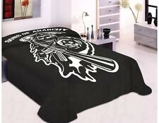 Sons Of Anarchy SOA Reaper Soft Plush Thick King Cal Mink Blanket Black TV Show