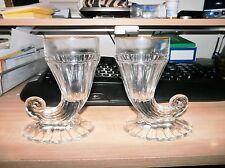 """Lot of 2 Jeannette glass Cornucopia Vases """"Horn Of Plenty"""" 5 1/2"""" tall"""