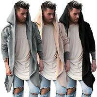 Mens Winter Casual Sweater Hoodie Long Sleeve Plain Cardigan Trench Coat Jacket