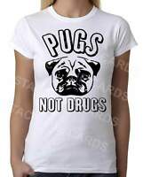 Pugs Not Drugs - Womens White T-Shirt - Geek Retro Fun Kitsch Cute