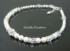 """Swarovski White Pearl & Clear AB crystal """"DAZZLE"""" Bridal Anklet  ~  Handcrafted"""