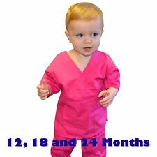 Toddler Scrubs Set REAL Hot Pink Childrens Doctor and Nurse Kids Scrub Sets