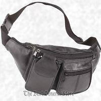 Solid Lambskin Black Leather Fanny Pack Belt Waist Tummy Bag Cell Phone Holder