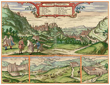 Alhambra Granada Andalusia Spain bird's-eye view map Braun Hogenberg ca.1598