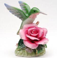 ♫ New MUSIC BOX Porcelain HUMMINGBIRD ROSE Musical Figurine BLING Flower Bird ♫