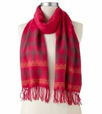 Croft & Barrow Softer Than Cashmere Fairisle Muffler Scarf, Hot Pink, FREE S&H