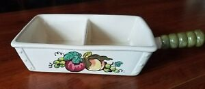 Metlox Poppytrail California Orchard Divided Serving Tray Apples Grapes Handle
