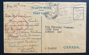 1942 Canadian Overseas Army RCAF Postcard Cover To London Canada