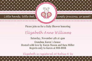 30 Butterfly Invitation Cards Baby Girl Shower Birthday Party Pink A1