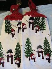 SNOWMAN FAMILY #2 Lot of 2 CROCHET TOP KITCHEN, BATH, SHOP HAND COTTAGE TOWELS