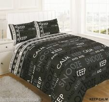 KEEP CALM BLACK DUVET SET QUILT COVER WITH PILLOW CASES BEDDING SET ALL SIZES