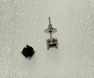 Stylish Dainty Silver Faceted 6mm Black Onyx White Gold Plated Men Studs Earring