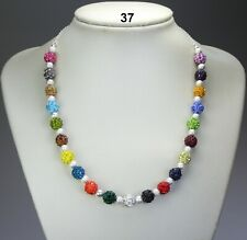 Multi-colour polymer clay rhinestone bead necklace, stardust balls, silver chain