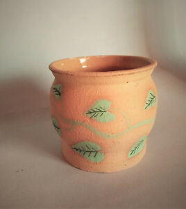 Terracotta plant holder pot, vase, leaf motif, studio made