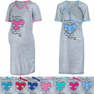 HAPPY MAMA Women's Maternity Nursing Hospital Birth Labour Nightshirt Pyjama1201