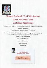 Fred biddlestone Aston Villa 1930-1939 très rare coupe signé main original