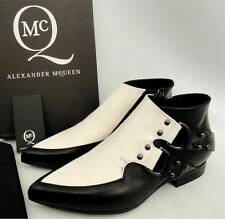 Alexander Mcqueen BLK White Leather Ankle Boots Shoes UK4 EU37, RRP390GBP