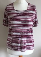 Eastex Size 14 Ladies Short Sleeve Purple, Brown & White Striped T Shirt Top