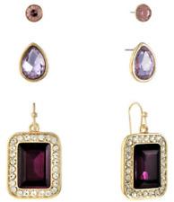 NWT Monet Purple Pierced Earrings - Set of Three Pair - Stud, Teardrop & Dangle