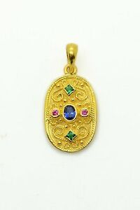 Blue Sapphire Etruscan Pendant Vintage Style Yellow Gold Plated Multistone Women