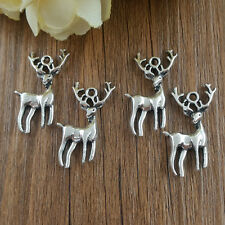 DIY Retro 6pcs Tibetan Silver Deer Crafts Charms Pendants Making Jewelry