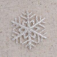 """Small Silver Snowflake 1.25"""" Christmas/Winter Iron on Applique/Embroidered Patch"""