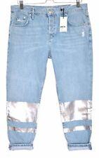 NEW Topshop PETITE Boyfriend HAYDEN Loose Blue Crop Jeans Size 12 W30 L28